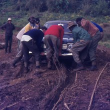 Mt Kenya: Stuck in the mud en route for the met Station. Dec. 1971
