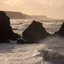 Coastline near Hartland Quay, North Devon, on a stormy January day