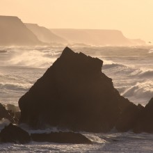 View south from Hartland Quay on the North Devon coast on a stormy January Day
