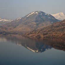 Loch Treig from the train heading for Corrour station. The Grey Corries beyond. March 2015.