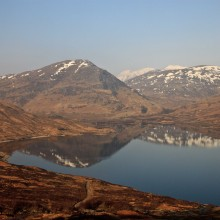 Loch Treig from the train to Carrour from Fort William. March 2015.