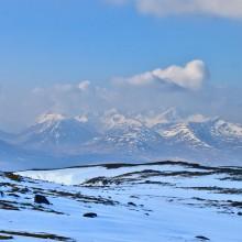 View south from summit Leum Uilleim towards The hills of Glencoe including Creise, Glen Etive, Bidean nam Bian. March 2015.