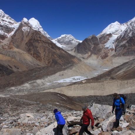 Peaks above Khare at the head of the Hinku Kola valley near Mera Peak
