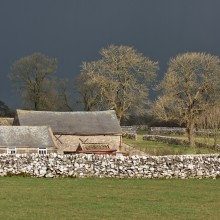 Barn and Trees during storm in Peak District, March 2018