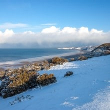 Woolacombe Beach and Mort Point from Pickwell with snow