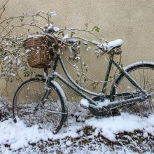 February: Bicycle in the snow in Georgeham
