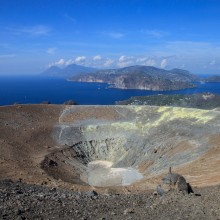 The summit crater of Volcano with Lipari beyond (Aeolian Islands)