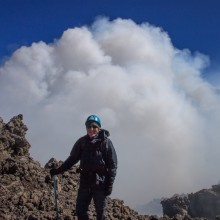 On the rim of the summit crtaer of Mt Etna