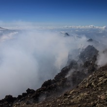 On the rim of the summit crater of Mt Etna